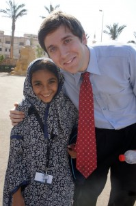 William White and one of his students outside the Dover American International School, Al Shorouk City, Cairo.