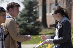 Rebecca Donaldson, sociology senior, talks to students who stopped in McCullough Plaza during a mass assembly held April 3. Donaldson, along with others were raising awareness of the student and faculty strike planned for April 11 and 12.