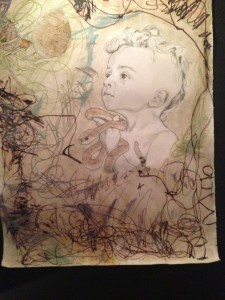 Traughber included her children in the creation of the art series. In this piece, she allowed her son to artistically express himself and her own art around what he created.