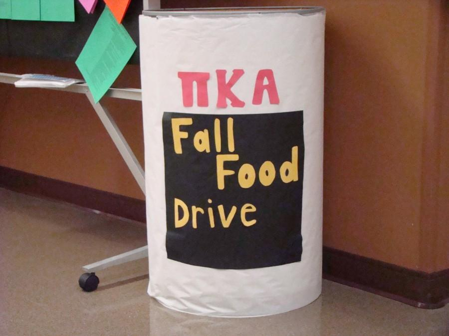 This collection bin, located in University Center South, is one of the collection locations for Pi Kappa Alpha's food drive. The fraternity will be collecting canned and  non-perishable food items through Nov. 27.