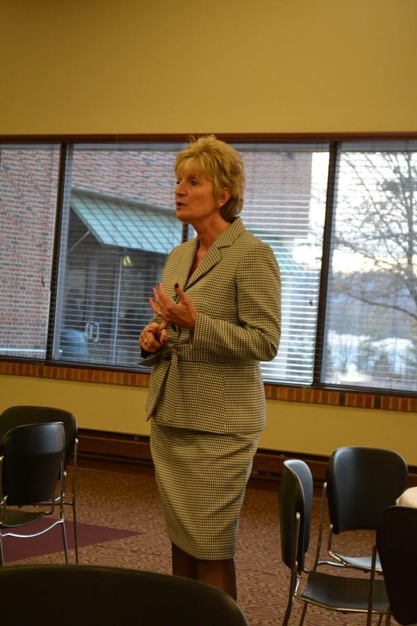 Susan Sciame-Giesecke visited IU Southeast on Thursday, Jan. 30. Sciame-Giesecke said, if chosen for the chancellor position one major thing she would like to focus on would be extended campus promotion and marketing.