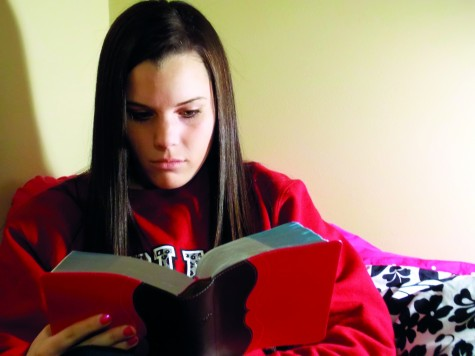 Roach spends time reading her Bible. She said this helps her stay strong. Photo by Melissa Spaide