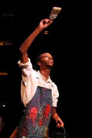 """Erwin Jacob performing as an African-American hobo during the Great Depression in """"The American Clock"""" by Arthur Miller. This photograph was taken during his freshman year at Northern Kentucky University in 2009. Courtesy photo"""