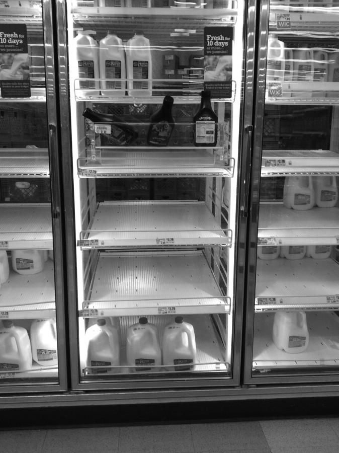 Shelves emptied quickly on Jan. 5 as shoppers rushed to stores to stock up on essentials in anticipation of the polar freeze. Milk, eggs and bread were some of the most common items by this day.  Photo by Aprile Rickert.