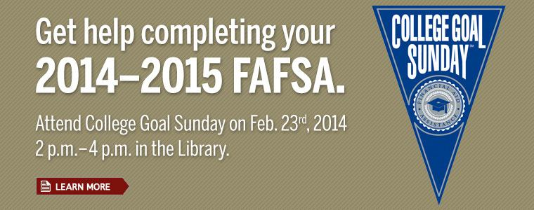 Office of Financial Aid: http://www.ius.edu/financialaid/  Hours: Monday- Thursday 8:00 a.m.- 5:00 p.m.      Friday 8:00 a.m.- 5:00 p.m.  Phone Number: (812) 941-2246   FAFSA Application: https://fafsa.ed.gov/   College Goal Sunday: Free help on the FAFSA, open to the community.  Date: Feb. 23, 2014  Time: 2:00 - 4:00 p.m.  Place: IUS Library   Did you know? •March 1, 2014 is the deadline for the scholarship application through IU Southeast.  •Aid is available for online, summer and overseas study. Contact the Office of Financial Aid for more information.  •Special Circumstances Appeal Forms are available that can help increase financial aid if income changed dramatically, medical expenses were high, natural disaster cost large sums, marital status changed, if the number of members in the household increased or number of people in college increased.  •Other types of financial aid are also available through the FAFSA. Click the link to read about the different type or if you have other questions about the FAFSA: http://fafsa.gov/help.htm
