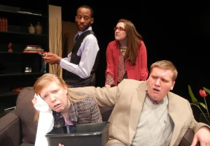 "From top left: Erwin Jacob, Jenna Lenore Ryan, Deanna Collins and Sean Turley in the IUS Theatre Department's production of ""God of Carnage."""