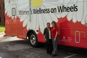 Teri Duell (left) and Felicia Jackson (right) at the Women's Wellness on Wheels. Photo by Jims Porter.