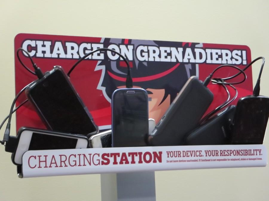 Charging stations that allow students to charge their phones and other electronic devices are located around campus.