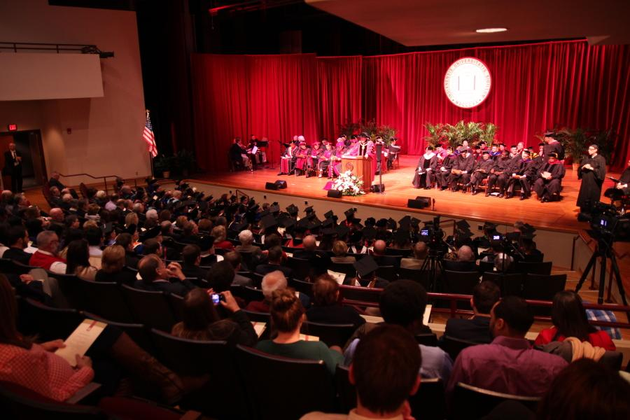 The installation was held in the Richard K. Stem Concert Hall in the Paul W. Ogle Cultural and Community Center at IU Southeast.