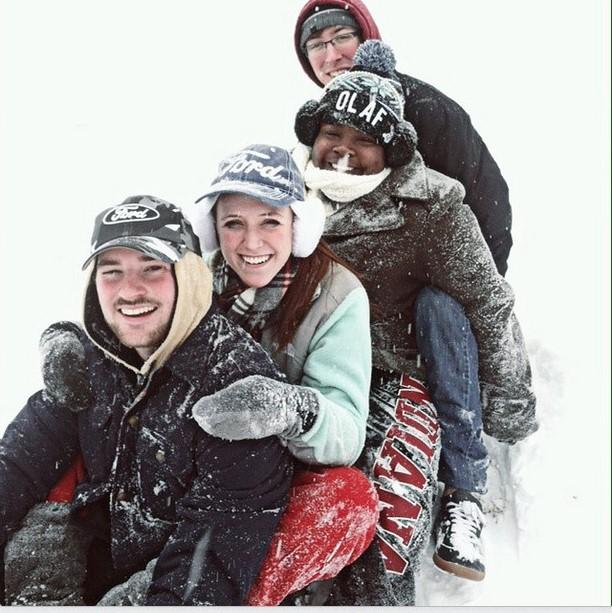 Students spend time during the IU Southeast closing sledding. Photo from @yagirl_tooshort on Twitter