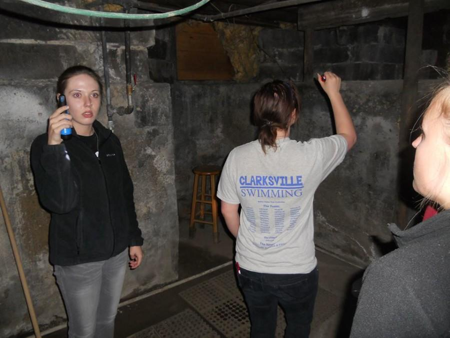 Katie Glesing, communications senior, (left) has spent the last two years doing paranormal research.