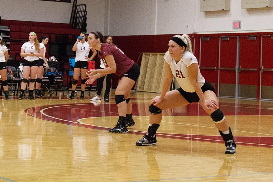 Freshman Hannah Joly preparing for the next play in a game against IU East on Thursday, Sept. 10. Joly had a game and team high ten kills in the game.