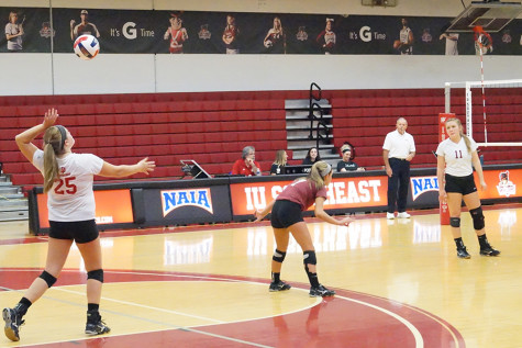 Hannah Barker, junior setter, serving the ball against Ohio Christian University on Thursday, Oct. 8. The Grenadiers won the match in straight sets. Barker had a game-high 28 assists in the win.