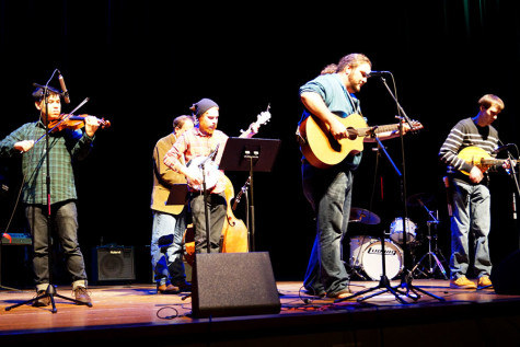 Carolina Pines, the bluegrass band in Sound Together, performs during Fallstock in Stem Concert Hall.