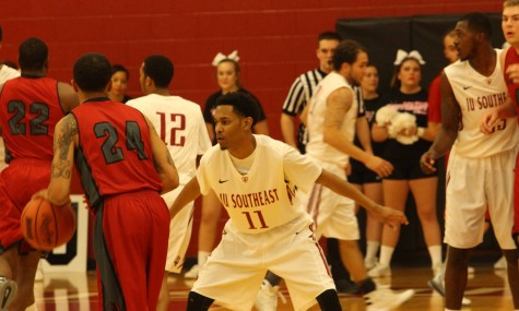 Sophomore guard Devon White sets up in his defensive stance.