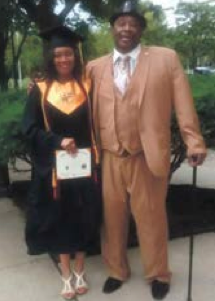 Cunningham and her father at her graduation. Photo courtesy