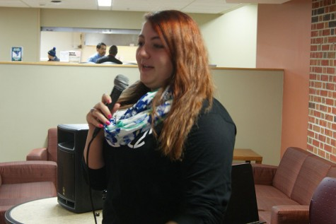 Jay Wyngard, criminal justice sophomore, delivers her comedic performance during the SPC's Open Mic on Tuesday, Feb. 9.