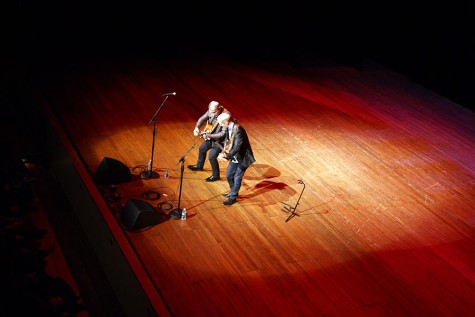 Loren and Mark play their guitars onstage in Stem Concert Hall on Saturday, Feb. 13.