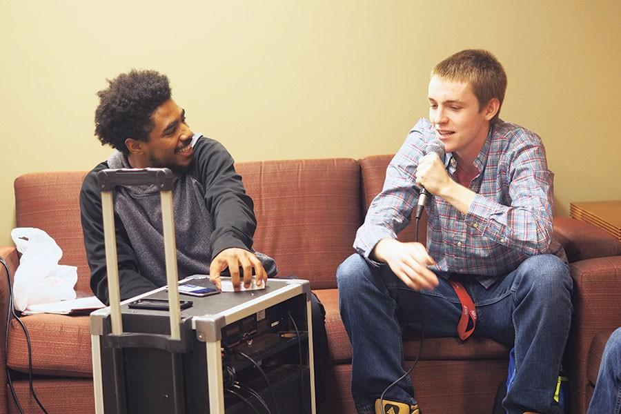 JaQuay Vermillion, business freshman, keeps the event going while Sam Ullrich, informatics junior, freestyles.