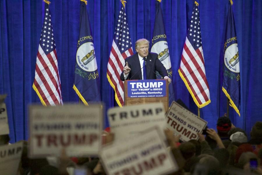 Donald Trump spoke to a crowd of his supporters in Louisville on Tuesday, March 1.