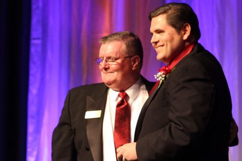 Indiana State Rep. Ed Clere stands with Chancellor Ray Wallace after receiving his 2016 Chancellor's Medallion award.