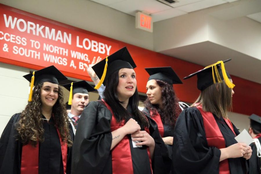 Graduating seniors prepare for the Commencement ceremony on Monday, May 9 at Freedom Hall.