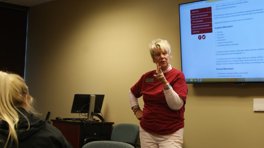 Leigh Ann Meyer, director of the Writing Center, speaking about the consequences of plagiarism.