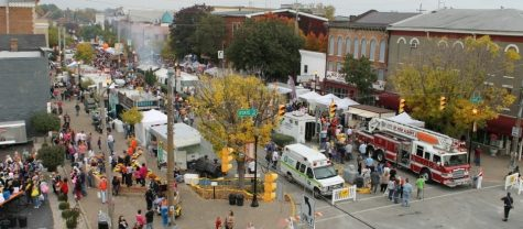 An aerial view of the Harvest Homecoming Festival.