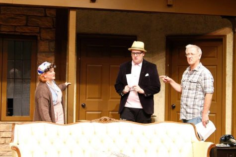 "Hesselman directs student Sean Turley and actress Kristy Calman in the fall 2015 production, ""Noises Off."""