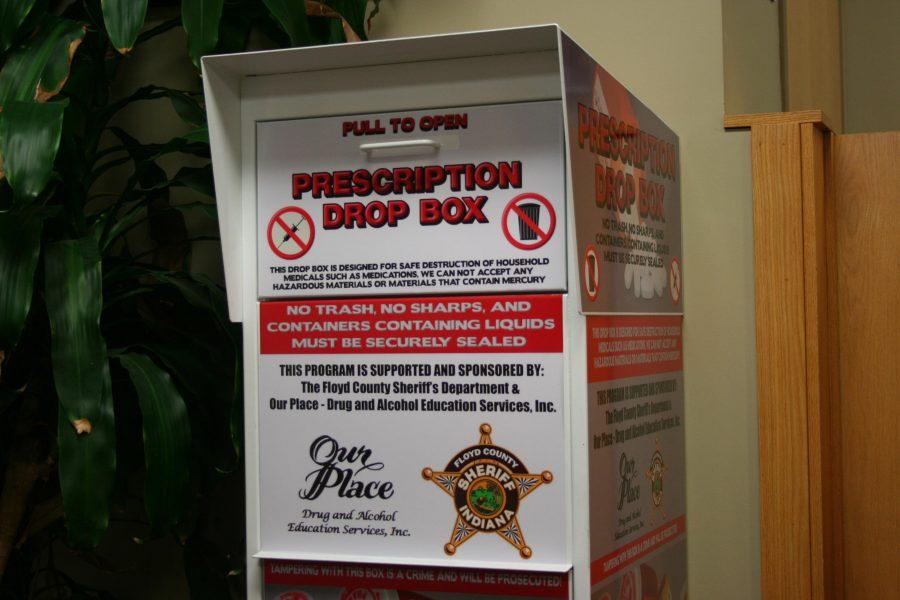 The prescription drug drop box at IU Southeast.