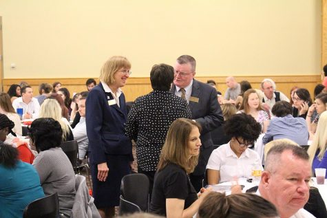 "Diane Wille, dean of research and graduate studies, and Chancellor Ray Wallace at the 2016 Student Conference. ""Last year we had 300 presenters and 200 presentations,"" Wille said. Photo provided by Diane Wille."