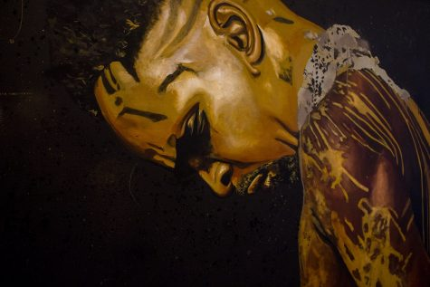 """""""Black Beauty"""" is his name. It is one of many photos that were part of Fahamu Pecou's #BlackMatterLives gallery. This painting is an acrylic, enamel, spray paint and gold leaf on a canvas. According to the Pecou's artist statement, this was supposed to reorient angst and despair experienced by Black America through work that affirms the beauty, strength and resilience of Black people."""