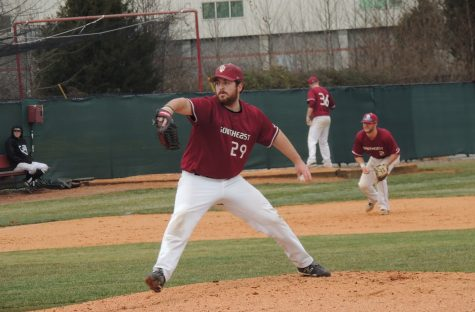 Junior pitcher Alex Shoettmer in delivery to the plate.