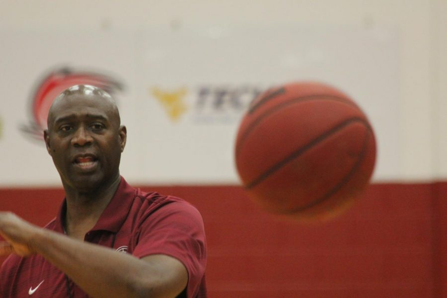 Wiley Brown passes the basketball during a team practice. Brown and the Grenadiers hope to take down the Wildcats of Indiana Wesleyan and move one step closer to another final four appearance.