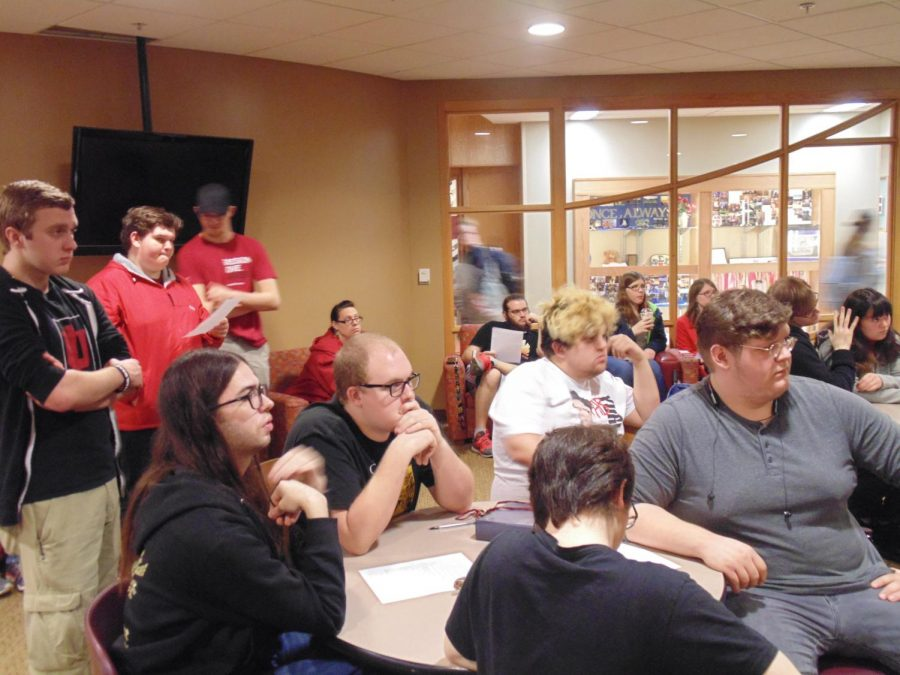 IU Southeast students listening at the Thursday, Jan. 11, open meeting regarding new changes to the Game Room rulebook. The Game Room is most frequently used by the Gamers' Society.