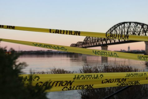 Hazard tape put up during the flood to keep onlookers away.