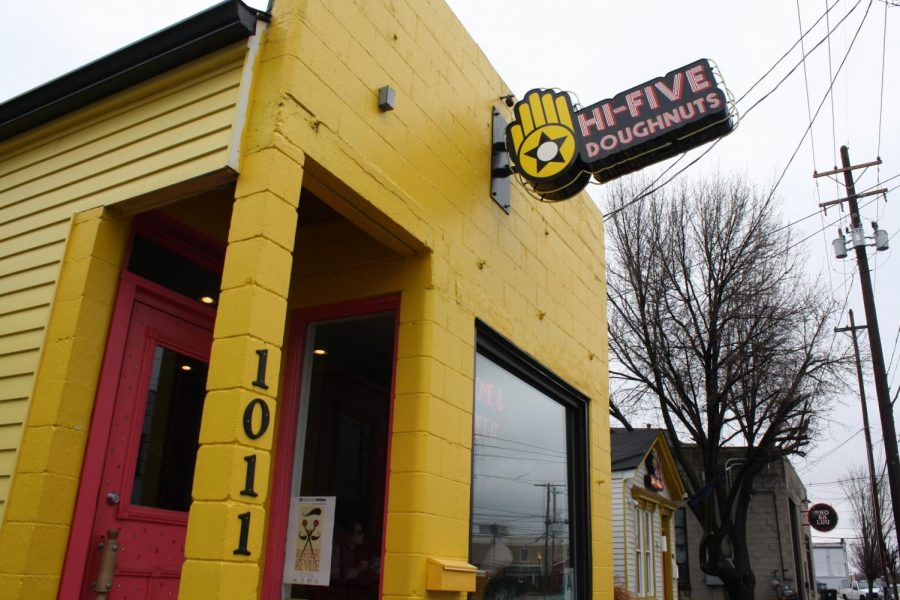 Hi-Five Doughnuts is Louisvilles first female owned and operated doughnut storefront. Located on 1011 East Main Street in Butchertown, the shop is an especially popular spot for locals with its bright colors and delicious treats.