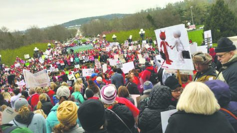 Hundreds of teachers gathered at Kentucky's Capitol to protest the passing of the new budget bill. Photo courtesy of Jennifer Van Bever, alumna who received her master's degree in secondary education at IU Southeast.