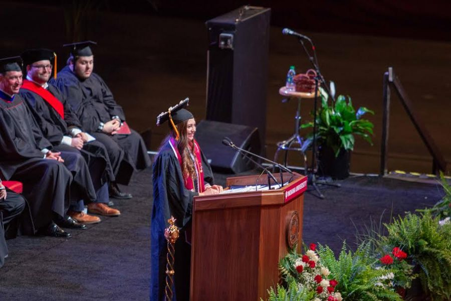 Hayley Love, nursing major, represented the class of 2018. She gave her speech during the student address, referencing the Latin phrase 'noli illegitimi carborundum,' which means to not let anyone get you down.