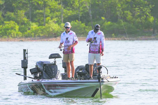 IU Southeast Bass Fishing duo of Gavin Lagle, left, and Atom Ward, right, looking to get a bite during the Carhartt Bassmaster College National Championship.