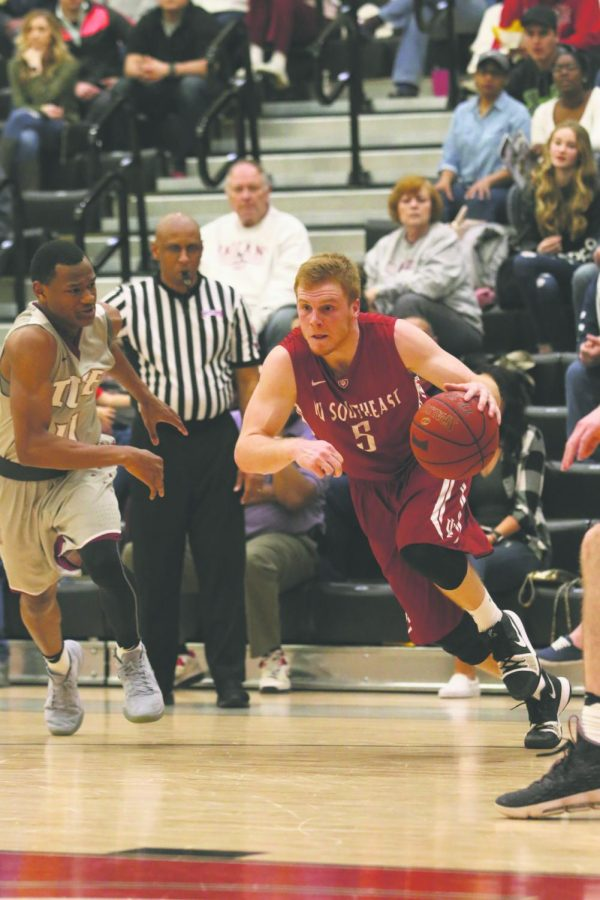 Senior guard Nick Tinsley drives to the basket against IU East in last year's RSC Tournament Championship game.