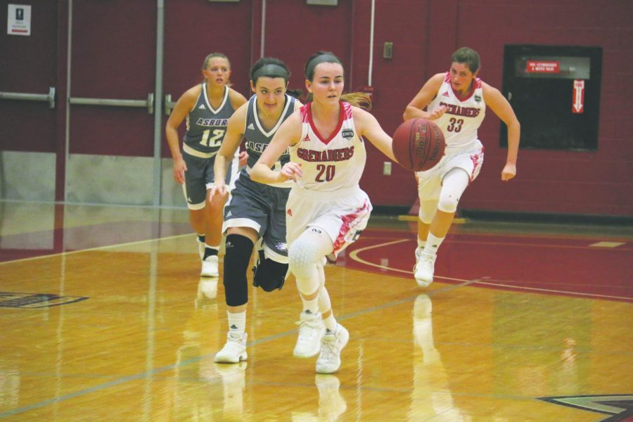 Junior guard Madi Woods drives the ball up the court in an 81-79 home loss to Asbury University last season. Woods is one of the key returning players for Farris' 30th season at the helm of the Grenadiers women's basketball team. Photo by Tamar Kelly.