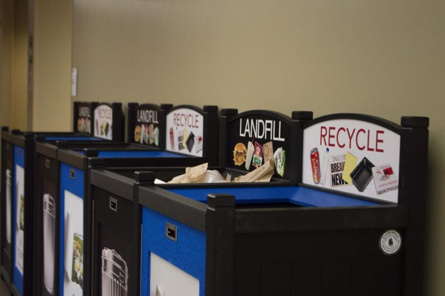 Recycling+and+landfill+bins+on+campus.