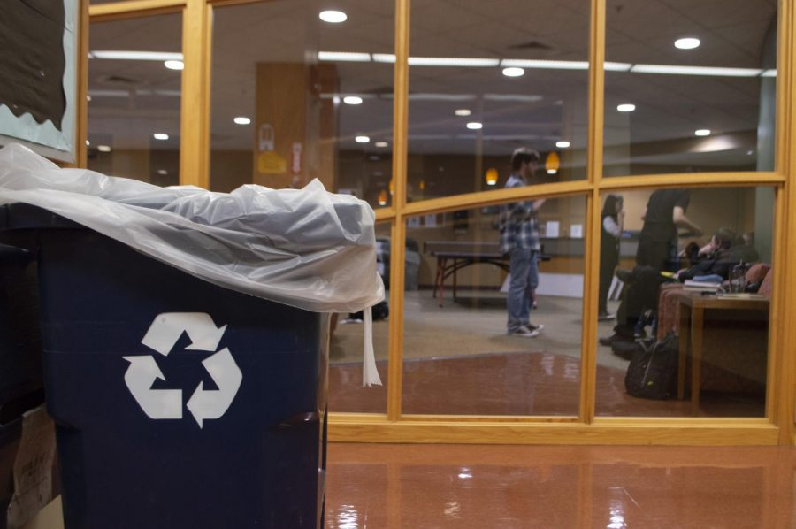 A recycling bin near the game room. Photo by Joshua Roy