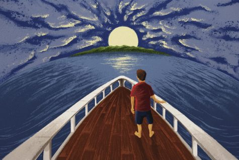Illustration of a migrant boy on a boat headed to a new land. Photo by Erik Nelson Rodriguez, Tribune News Service. Used with permission.