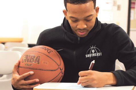 Men's basketball senior guard Kerry Smith. Photo illustration by Jen McNelly.
