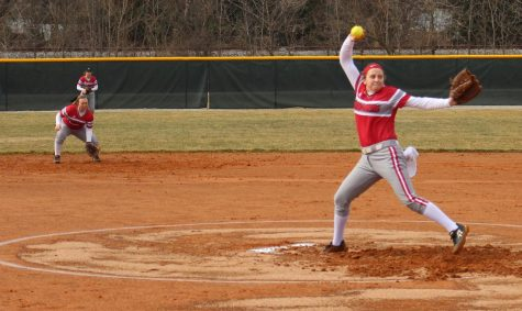 Senior Emily Weiss fires a pitch for a strike in game 1 of the Grenadiers' first home doubleheader. Photo by Brandon Miniard.