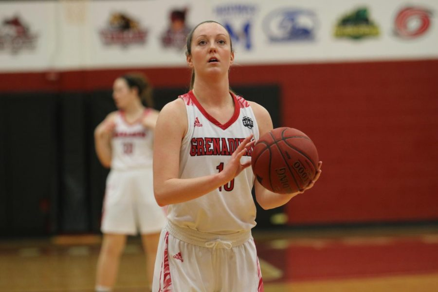 Hockman lines up a pair of free throws from the Grenadiers game against Brescia Univeristy. Photo by Tamar Kelly