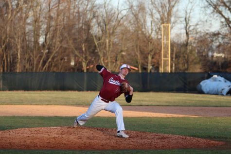 Peyton Bledsoe fires a pitch during his relief appearance in game 2 of the Grenadiers' first doubleheader against William Penn University. Photo by Brandon Miniard.