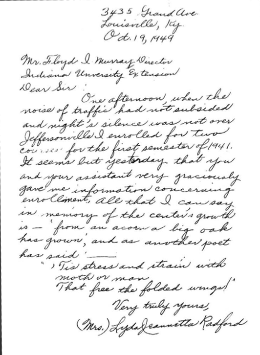 Correspondence sent from Lyda Radford to Floyd McMurray, founder of the Falls City Area Center, confirming she was the first student enrolled at what would become IU Southeast.